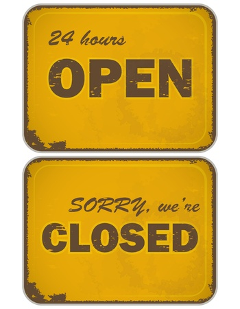closed sign: Set of grunge yellow signs: Open - closed - 24 hours, Retro style