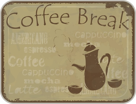 Grunge retro Vintage card - coffee Menu cover - coffee pot and cups  Illustration