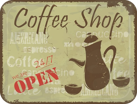 coffee shop: Grunge retro Vintage card - coffee Menu cover, sign pattern for coffee shop - coffee pot and cups Illustration