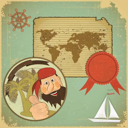 navigation object: Vintage card in  scrapbook style - Pirate and World map on Grunge background