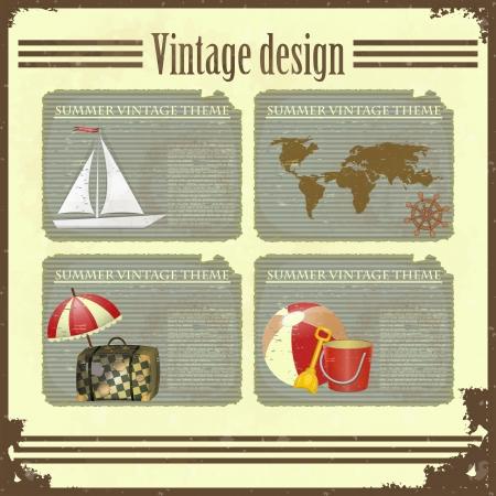 Grunge retro Vintage card - marine Travel set - Summer vacation Stock Vector - 13940898
