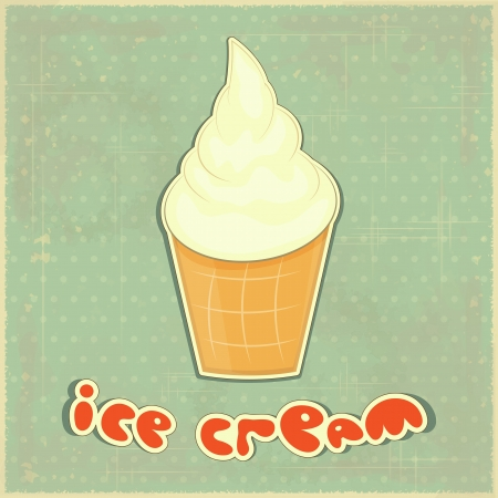 Retro Menu card - ice cream vanilla on Vintage background  Vector