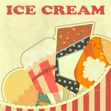 sweet shop: Ice Cream Retro color Cover Vintage Menu for Confectionery
