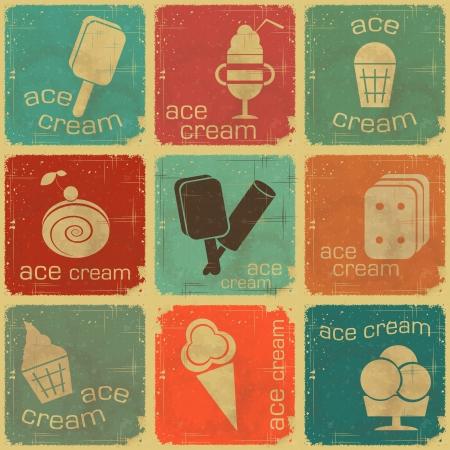 helado de chocolate: Ice Cream Vintage etiquetas de ajuste