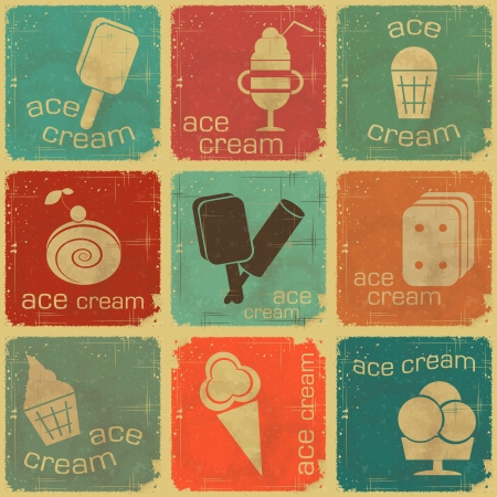 waffle ice cream: Ice Cream Vintage set labels