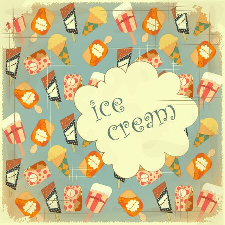 Ice Cream Vintage card Cover retro Menu for Confectionery - Food background  Vector