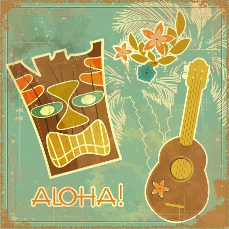 ukulele: Vintage Hawaiian card - invitation to Beach party