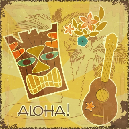 ukulele: Retro Hawaiian postcard - invitation to Beach party