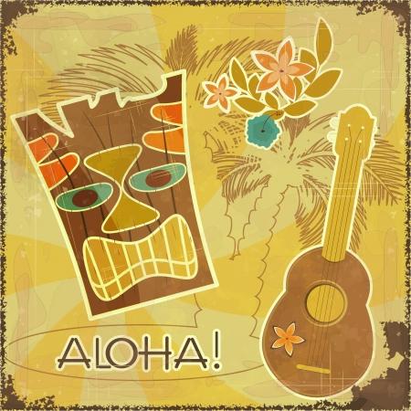 Retro Hawaiian postcard - invitation to Beach party Stock Vector - 14133367