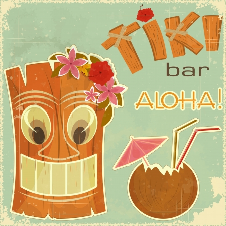 Vintage Hawaiian postcard - invitation to Tiki Bar Stock Vector - 14133366