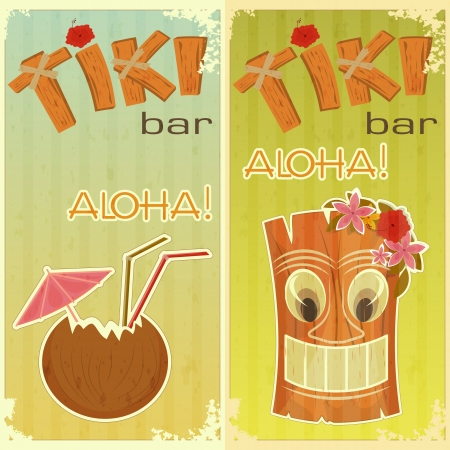 hawaiian tiki: retro stickers for Tiki bars, Hawaiian party, two postcards in vintage style with hand drawn text Aloha and Tiki