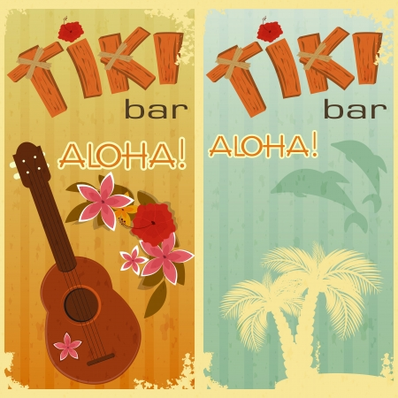 tiki party: retro cards for Tiki bars, Hawaiian party, two postcards in vintage style with hand drawn text Aloha and Tiki