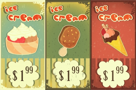 Ice cream labels in grunge style with price - hand drawn text Ice Cream  Vector