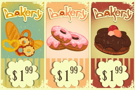 bakery price: bakery price tags Vintage retro Style with hand drawn text Bakery