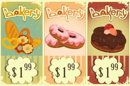 beignet: les �tiquettes de prix de boulangerie de cru de style r�tro avec dessin�s � la main Bakery texte