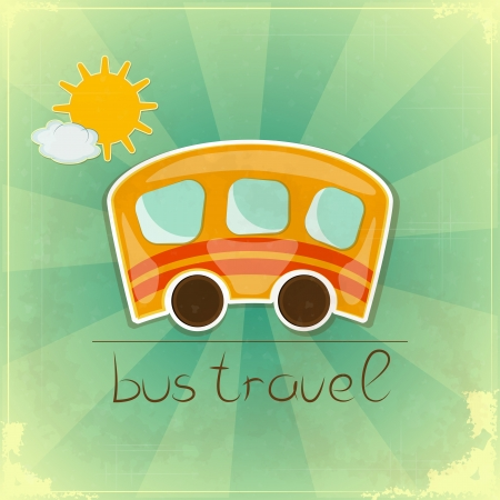 Fun Bus Travel card in Retro style with hand drawn text Bus travel  Vector