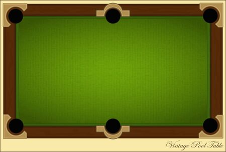 billiards tables: retro billiards card - Vintage Pool Table with place for text  Illustration