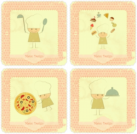 old kitchen: Vintage Set of Menu Card Designs with Chefs in Retro Style, kids menu  Illustration