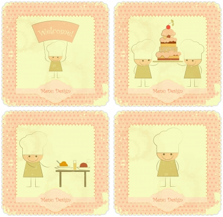Vintage Set of kids menu Card Designs with Chefs in Retro Style  Illustration