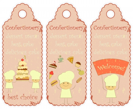 confection: Confectionery labels in Retro style with Chefs and place for text