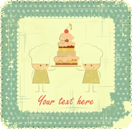 Vintage Menu Card Designs with Chefs in Retro Style, kids menu, birthday card Stock Vector - 14133384