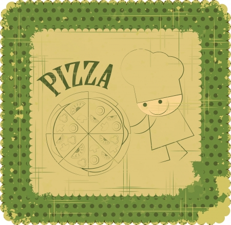 Vintage Pizza Menu Card Design with chef in Retro Style  Vector