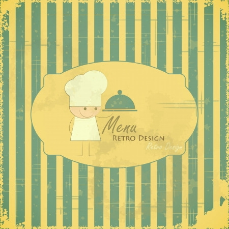 Vintage Menu Card  with chefs on striped background in Retro Style, kids menu Vector