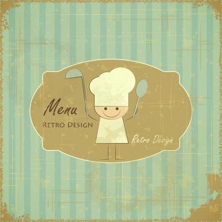 cucina antica: Vintage Design Card Menu con lo chef in stile retr�