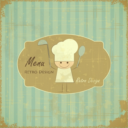 kitchen illustration: Vintage Menu Card Design with chef in Retro Style