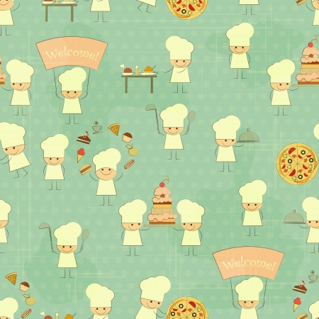 Seamless Food Background with Fun Chefs in Retro Style  Vector