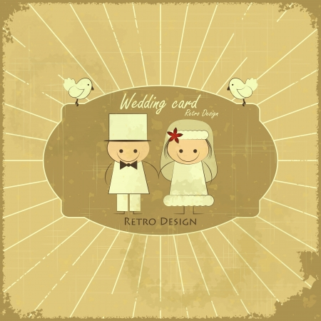 Retro Design Wedding Card - Groom, Bride, Pigeons on Grunge Background  Vector