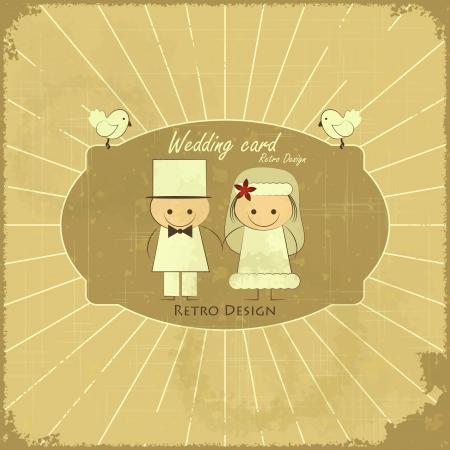 Rétro carte de mariage Design - marié, jeune mariée, les pigeons sur le fond grunge
