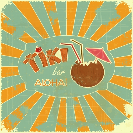 fruit bars: Vintage Hawaiian postcard - Retro Design Tiki Bar Menu with hand drawn text Aloha and Tiki  Illustration