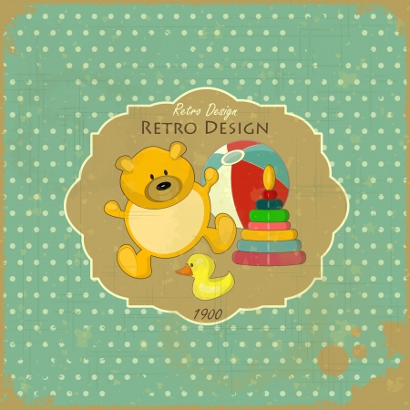Retro Design Baby Card - Old Toys on Vintage Background  Vector