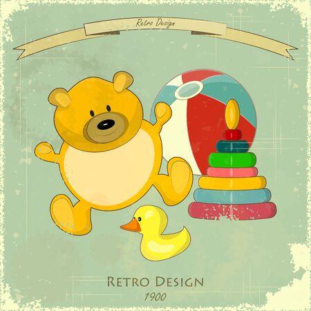 Vintage Design Baby Card - Old Toys on Retro Blue Background