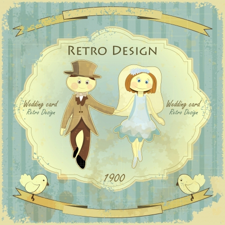 marriage cartoon: Vintage Retro Design Wedding Card - Groom, Bride, Pigeons, Ribbons on Grunge Background