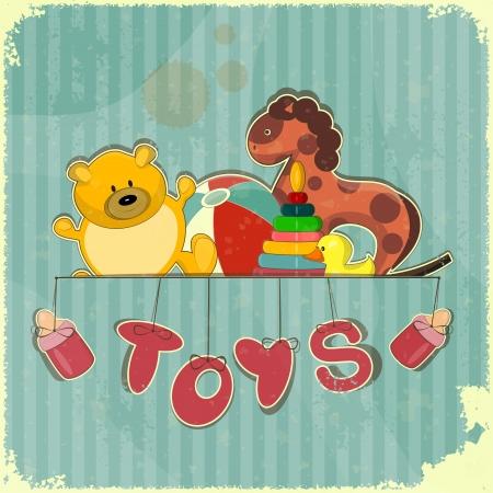 juguetes antiguos: Vintage Toy Shop - Juguetes antiguos sobre fondo azul retro Vectores