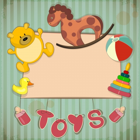 Vintage Design Toys Frame - Old Toys and place for text  Vector
