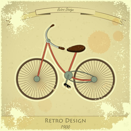 Vintage postcard - Retro bicycle on Grunge Background with Ribbon  Vector