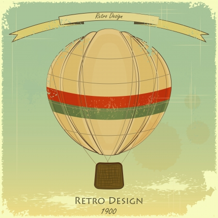 aerostat: Vintage Balloon Retro card  Illustration