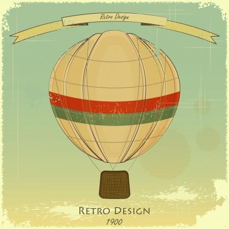 aeronautical: Vintage Balloon Retro card  Illustration
