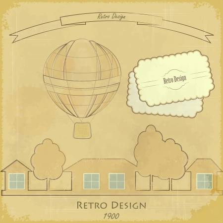 adventure aeronautical: Vintage Air Balloon aerostat and houses Retro card - hot air balloon flying over village