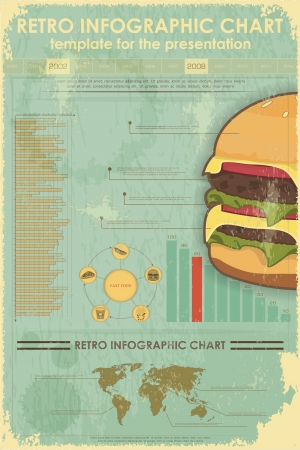 Retro Infographics with fast food items and World Map - vintage elements for presentation and visualization - illustration Vector