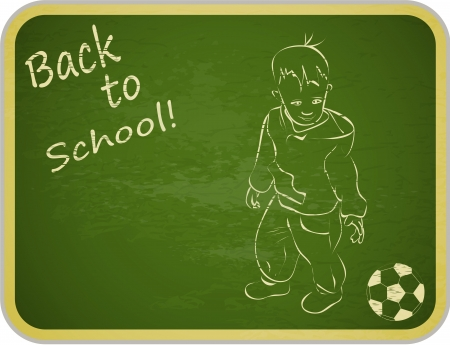 Little Boy with Ball on Retro School Board Background - back to school - vector illustration Vector