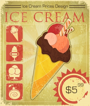 ice cream: Design Ice cream price in Retro style  - vector illustration