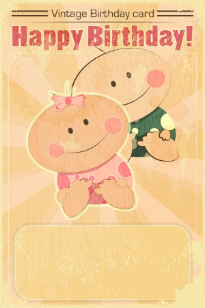 Vintage Design Baby Birthday Card - twins babies on Grunge background - vector illustration Vector
