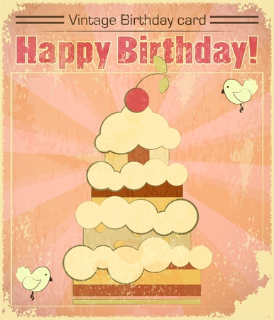 Vintage birthday card with big berry cake in retro style - vector illustration Vector