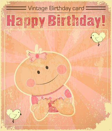 Retro Baby Girl Birthday Card - newborn on Vintage background - vector illustration Vector