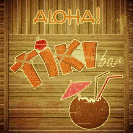 aloha: Vintage Hawaiian postcard - Retro Design Tiki Bar Menu on wooden background with hand drawn text Aloha and Tiki - vector illustration Illustration