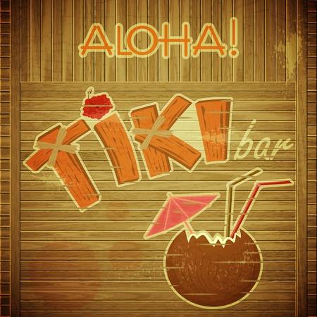 Vintage Hawaiian postcard - Retro Design Tiki Bar Menu on wooden background with hand drawn text Aloha and Tiki - vector illustration Illustration